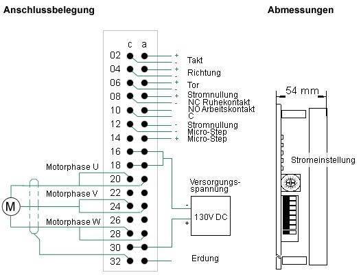 Anschlussplan für Schrittmotor-Endstufe SM3 | RW Elektronik