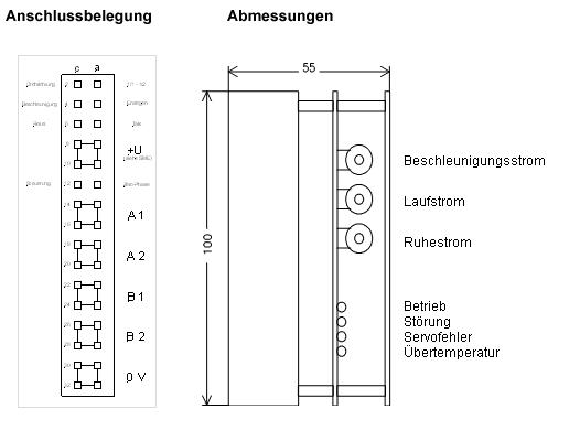 Anschlussplan für Schrittmotor-Endstufen SME   RW Elektronik